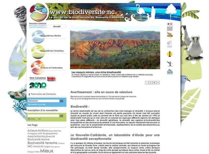 la Une du site www.biodiversite.nc