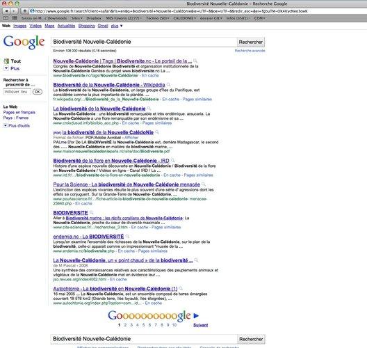 Première page et première ligne de Google pour www.biodiversite.nc