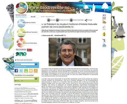 Gilles Boeuf, Président du Muséum National d'Histoire Naturelle parrain de www.biodiversite.nc