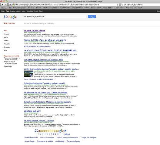 """Le programme """"1arbre, 1 jour, 1vie"""" truste les 6 premières positions de la première page de Google."""