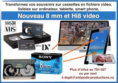 Transfert des cassettes 8mm et Hi 8 en fichier video