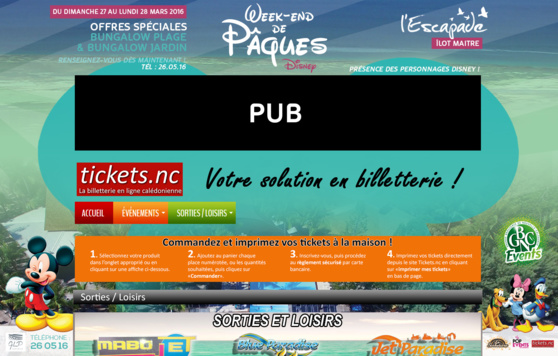 Habillage du site Ticket.nc