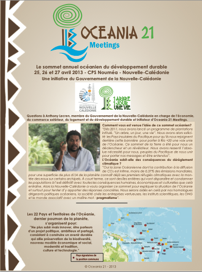 Antipode réalise la brochure d'Oceania 21 Meetings 2013