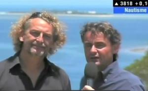 Fabrice Colin, invité de Nautisme, le Kite à l'ilôt Maître et Michel Quintin sur la côte blanche